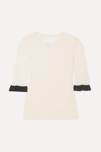 RED Valentino Ruffled Point D'esprit-trimmed Wool, Silk And Cashmere-blend Sweater - White