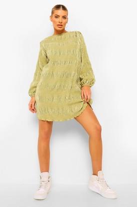 boohoo Plisse Oversized Shift Dress