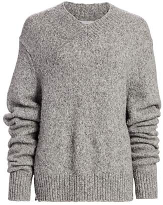 Helmut Lang Brushed Wool & Alpaca-Blend V-Neck Drop-Sleeve Sweater