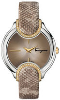 Salvatore Ferragamo Diamond-Accented Stainless Steel Embossed-Leather Strap Watch, FIZ060015