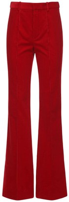 Saint Laurent High Waist Cotton Velvet Flared Pants