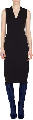 Akris Sleeveless V-Neck Silk Crepe Sheath Dress w/ Side Slits
