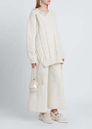 Simone Rocha Knit Bead-Embellished Sweater, Cream