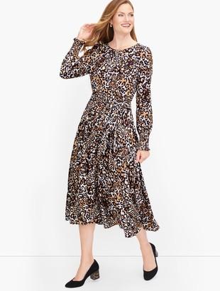 Talbots Tie Waist Leopard Midi Dress