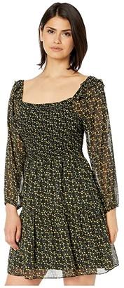 Sam Edelman Ditsy Flowers Long Sleeve (Black/Yellow) Women's Dress