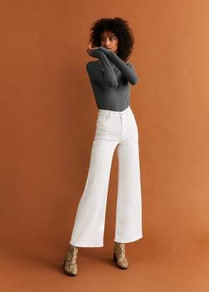 MANGO Ribbed high neck t-shirt ecru - XXS - Women