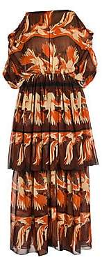 Fendi Women's Parakeet Print Tiered Georgette Dress