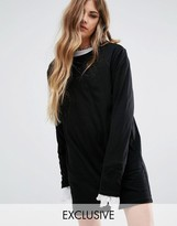 Reclaimed Vintage T-Shirt Dress With Extra Long Sleeves