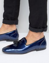 Asos Loafers In Navy Metallic