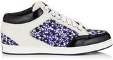 Jimmy Choo MIAMI Violet Floral Printed Jacquard and Leather Low Top Trainers