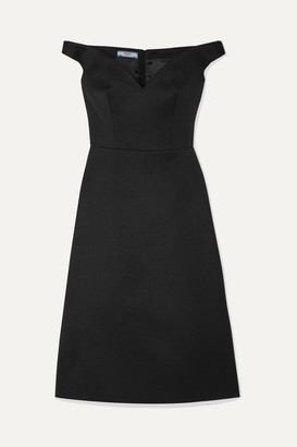 Prada Off-the-shoulder Wool Dress - Black