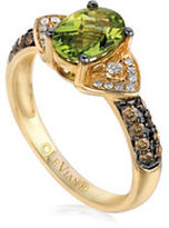 LeVian Chocolatier Chocolate and Vanilla Diamonds and Peridot Ring- 0.34 TCW