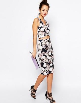 New Look Grunge Floral Print Scuba Pencil Skirt