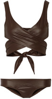 Lisa Marie Fernandez Marie Louise Glossed Wrap Bikini - Dark brown