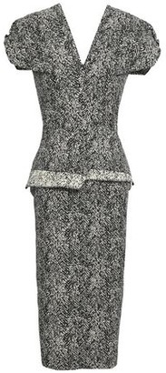 Roland Mouret Cotton-blend Jacquard Peplum Midi Dress