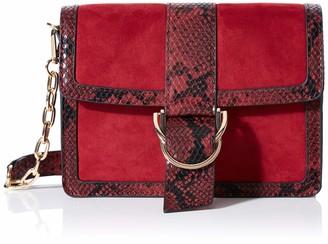 Dorothy Perkins Women's Buckle Panel Crossbody Bag Cross-Body Bag Red (Red) 8x16x21 cm (W x H x L)