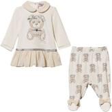 MonnaLisa Bear Print Dress and Leggings Set