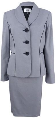 Le Suit Women's Seersucker 3 Button Skirt Suit