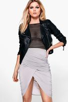 boohoo Petite Lucy Ruched Wrap Midi Skirt dove
