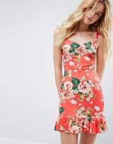 Asos Mini Sundress With Lace Up Back and Peplum Hem In Red Floral