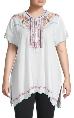 Johnny Was Plus Moji Floral Embroidery Tunic