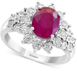 Effy Certified Ruby (1-9/10 ct. t.w.) & Diamond (1/4 ct. t.w.) Ring in 14k White Gold