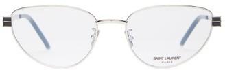 Saint Laurent Cat-eye Metal Frame Optical Glasses - Womens - Silver