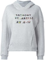 Anthony Vaccarello logo print hoody - women - Cotton/Acrylic - M