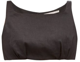 Emilia Wickstead Fanny Square-neck Linen Cropped Top - Black