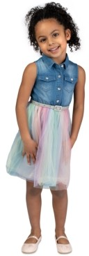 Bonnie Jean Little Girls Denim & Rainbow Tulle Belted Dress