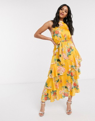 Lipsy halterneck ruffle tiered maxi dress in yellow floral