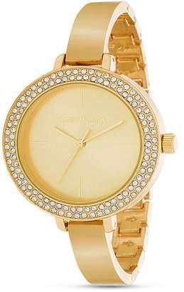 Steve Madden Women's Crystal Bezel Slim Band Yellow Gold-Tone Link Watch, 41mm