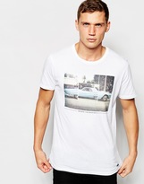 Pull&bear Crew Neck T-shirt With Car Print - White