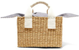 Muun Ninon Straw And Striped Cotton-canvas Tote - Beige