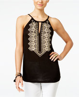 INC International Concepts Petite Embroidered Halter Top, Only at Macy's