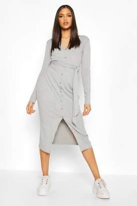 boohoo Tall Button Down Rib Midi Dress