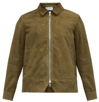 Officine Generale Point-collar Suede Jacket - Khaki