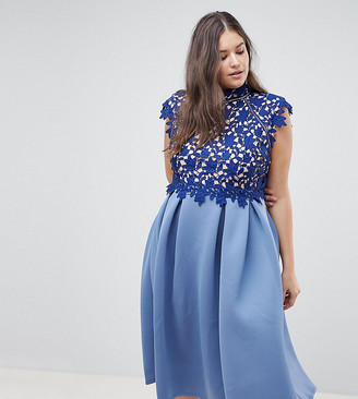 ASOS DESIGN Curve heavy lace high neck skater midi prom dress