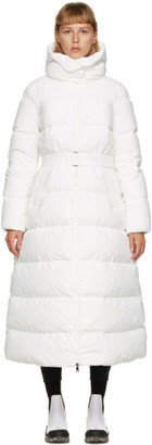 Moncler White Down Belted Goelo Coat