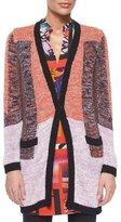 Etro Colorblock Knit Long-Sleeve Cardigan, Pink Multi