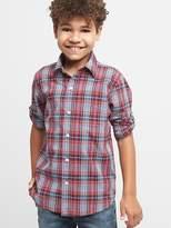 Gingham poplin convertible shirt