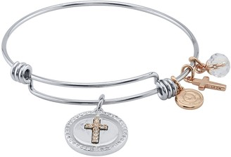 """LovethisLife """"Faith, Hope, Love"""" Crystal Cross Charm Bangle Bracelet"""