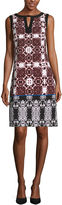 London Times Sleeveless Pattern Shift Dress