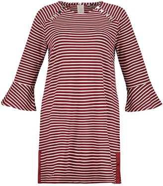 Ulla Popken Striped Shift Dress with Long Sleeves