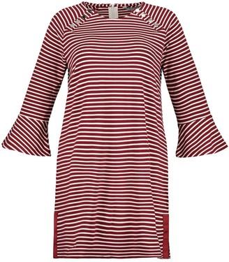 Ulla Popken Striped Shift Dress with Long Sleeves