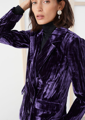 And other stories Crushed Velvet Double Breasted Blazer