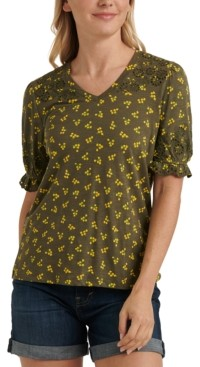 Lucky Brand Floral-Print Embroidered Puff-Sleeve Top