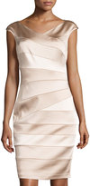 Jax V-Neck Banded Satin Sheath Dress, Putty/Shell