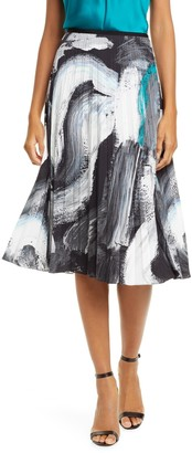 Diane von Furstenberg Lay Brushstroke Pleated Skirt