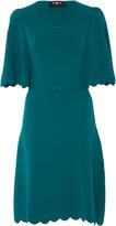 Paule Ka Short Sleeve Scalloped Knit Dress
